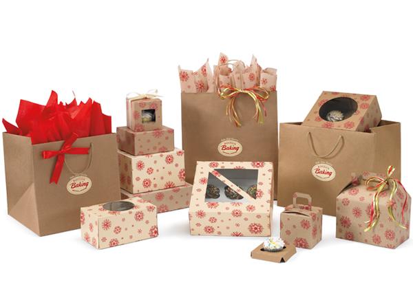 Crimson Snowflake Kraft Amp Cream Bakery Boxes First